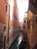 Italy beauty one of canal streets in Venice, Italia.  Royalty Free Stock Images