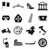 Italy black simple icons Royalty Free Stock Photo