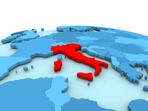 Italy on blue globe. Italy in red on simple blue political globe. 3D illustration Stock Photography