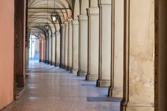 Italy, Bologna, desert portico. Italy, Bologna, a deserted portico in the historic center of the city Royalty Free Stock Images
