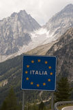 Italy border sign Stock Image