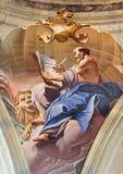ITALY, BRESCIA: Evangelist in cupola of Chiesa di Sant Afra church by Antonio Mazza Stock Photos