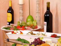 Italy Buffet. With different food and Winw Royalty Free Stock Photography