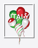 Italy. Bunch of balloons with Italian flag colors. Flag of Italy on balloon. Italy national celebration or travel. Vector square design Stock Images