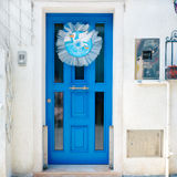 Italy. Burano. Blue door. Stock Photos