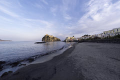 ITALY, Campania, Ischia island,. Ischia Ponte, Castel S.Angelo, view of the beach and the aragon fortress Royalty Free Stock Photography