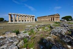 Italy, Campania, Paestum - Temple of Neptune and Hera Royalty Free Stock Photos