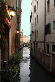 Italy, canal view in venice. Restaurant in front of canal Royalty Free Stock Photos