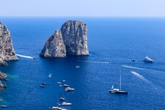 Italy. Capri Island. Faraglioni rock formation Royalty Free Stock Photos