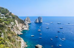 Italy. Capri Island. Faraglioni rock formation Royalty Free Stock Images
