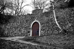 Italy castle entrance. Gate in partial black and white style Stock Images