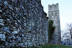 Italy castle tower and wall. North Italy Castle external wall and tower Royalty Free Stock Image
