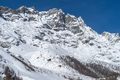 Italy, Cervinia, snow covered mountains. Mountain scenery in Cervinia, Valtournenche, Aosta Valley, Italian Alps Royalty Free Stock Image