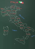 Italy chart. Illustration of italy province and region maps om chalkboard Stock Photography