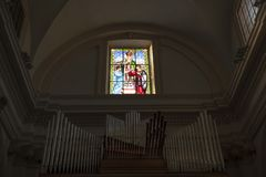 Valentine`s day . image of the saint in an italian church. In Italy in the church dedicated to San Valentino there is a beautiful mosaic window. This depicts the Royalty Free Stock Photos