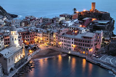 Italy: Cinque Terre. View to the ancient town called Vernazza on the Cinque Terre coast in Liguria, Italy Stock Image