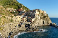 Italy, Cinque Terre landscape. View of Manarola old fishing village Stock Images