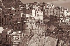 Italy. Cinque Terre. Manarola. In Sepia toned. Retro style Stock Image