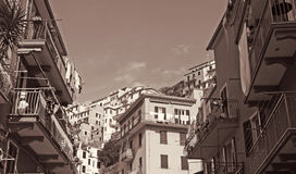 Italy. Cinque Terre. Manarola. In Sepia toned. Retro style Stock Images