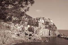 Italy. Cinque Terre. Manarola village. In Sepia toned. Retro sty Royalty Free Stock Photos
