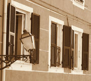 Italy. Cinque Terre. Riomaggiore village. Lantern on the wall. I Royalty Free Stock Photography
