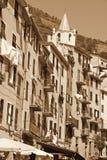 Italy. Cinque Terre. Riomaggiore village. In Sepia toned. Retro Royalty Free Stock Photography