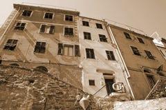 Italy. Cinque Terre. Riomaggiore village. In Sepia toned. Retro Stock Photos