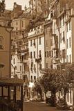 Italy. Cinque Terre. Riomaggiore village. In Sepia toned. Retro Royalty Free Stock Photos