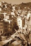 Italy. Cinque Terre. Riomaggiore village. In Sepia toned. Retro Stock Photography