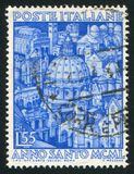 Italian Cathedrals and Churches. ITALY - CIRCA 1950: stamp printed by Italy, shows Composite of Italian Cathedrals and Churches, circa 1950 royalty free stock photos