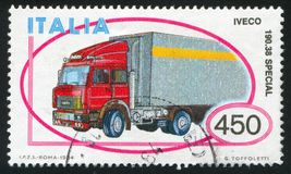 Iveco truck. ITALY - CIRCA 1984: stamp printed by Italy, shows Iveco truck, circa 1984 stock image