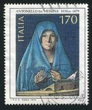 Virgin Mary by Antonello da Messina. ITALY - CIRCA 1979: stamp printed by Italy, shows Virgin Mary by Antonello da Messina, circa 1979 Royalty Free Stock Images