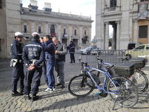 Italy,The City policmen of Rome on Capito Hill Stock Photography