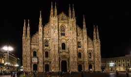 Duomo at night illuminated royalty free stock photo