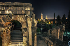 Italy, city of Verona. Night shot of the remains of ancient buildings in the town of Verona. Italy Stock Images