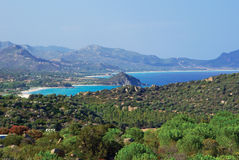 Italy Coastline. Coastline landscape of southern Sardinia, Italy Stock Photo