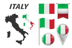 ITALY. Collection of symbols in colors national flag on various objects isolated on white background. Flag, pointer, button, royalty free illustration