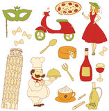 Italy colored icons Stock Photos