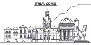 Italy, Como line skyline vector illustration. Italy, Como linear cityscape with famous landmarks, city sights, vector royalty free illustration