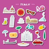 Italy concept vector illustration, design element with cut out stickers set Royalty Free Stock Photo