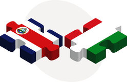 Italy and Costa Rica Flags in puzzle Stock Image