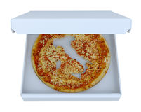 Italy country map cropped on pizza inside box Royalty Free Stock Photos