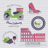 Italy country set label. Template of emblem element for your product or design, web and mobile applications with text Royalty Free Stock Photos