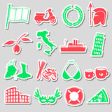 Italy country theme various stickers set eps10 Stock Images