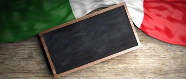 Italy flag placed on wooden background. Blackboard in frame with copyspace. 3d illustration. Italy crumpled flag placed on wooden background. Blackboard in frame Royalty Free Stock Photos