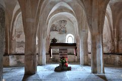 Italy, crypt of romanesque church. Crypt of italian romanesque church Royalty Free Stock Photography