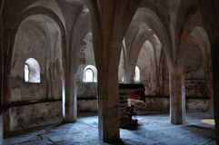 Italy, crypt of romanesque church 1. Crypt of italian romanesque church Royalty Free Stock Photos