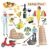 Italy culture travel icons set. Stock Image