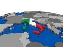 Italy on 3D globe Royalty Free Stock Photo