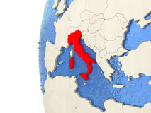 Italy on 3D globe Stock Photography